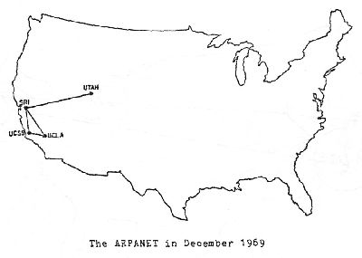 This is what the Internet aka ARPANET looked like in 1969—4 nodes connected to the network.