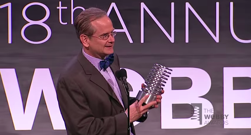 Lawrence Lessig accepts a Lifetime Achievement at the 2014 Webby Awards