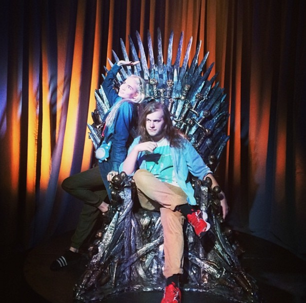 Grimes and james brook on the Iron Throne_Comic Con_Judges Spotlight Feature_Webby Awards